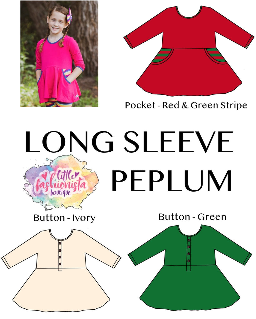 Christmas Essentials Long Sleeve Peplum **IN PRODUCTION**
