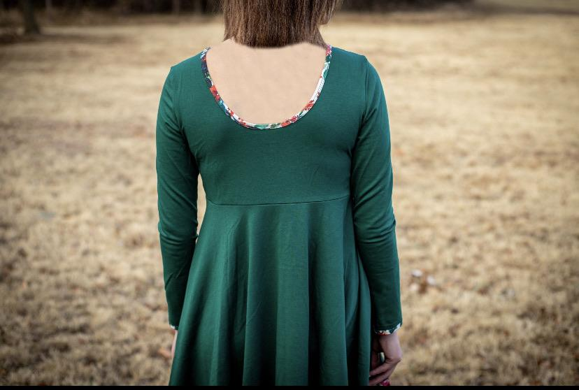 Winter Floral & Emerald Long Sleeve Colorblock Dress