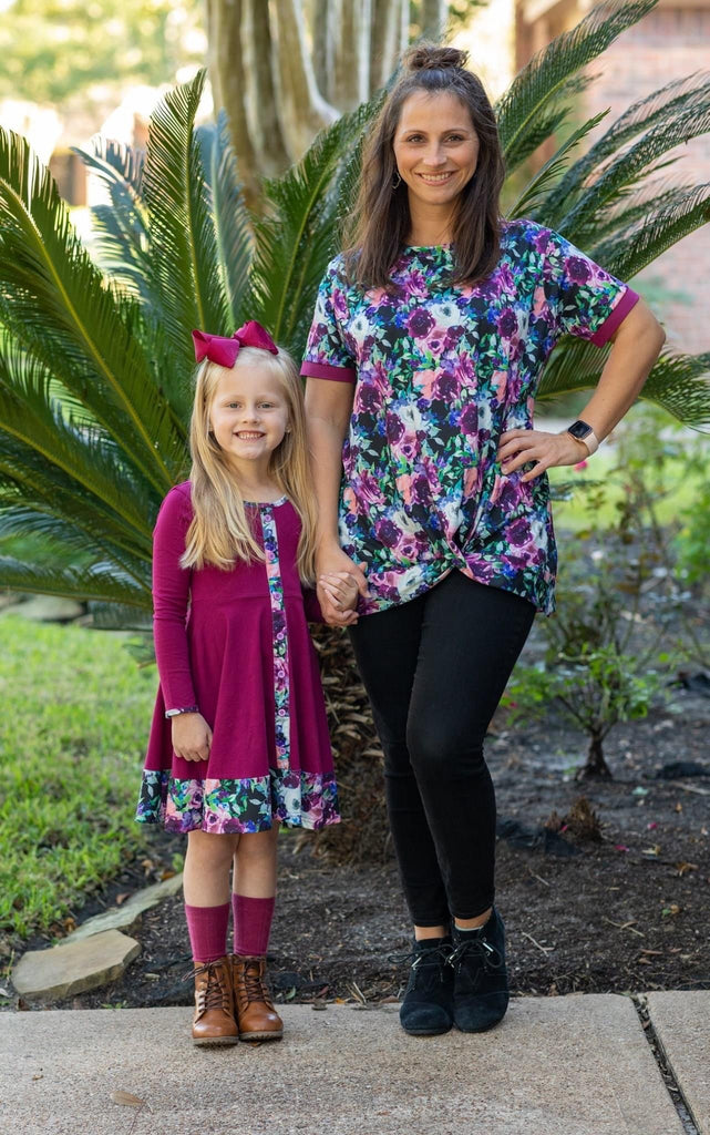 Midnight Florals Womens Short Sleeve Tunic