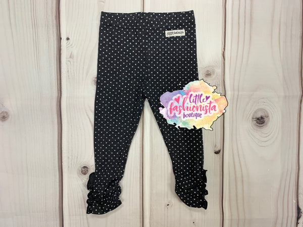 Charcoal Dot Ruffle Button Leggings