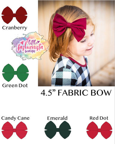 "Christmas Essentials 4.5"" Fabric Bow **IN PRODUCTION**"