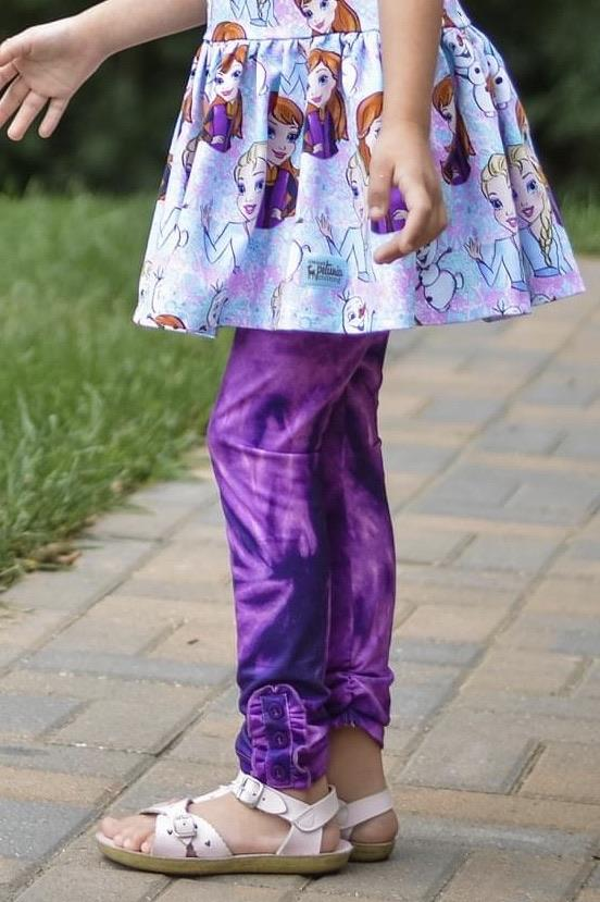 Purple Tie Dye Ruffle Button Leggings