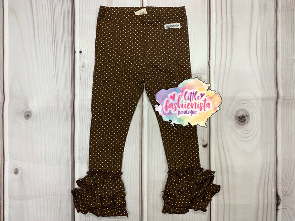 Chocolate Dot Truffle Triple Ruffle Leggings