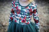 Winter Floral & Emerald Long Sleeve Tutu Dress