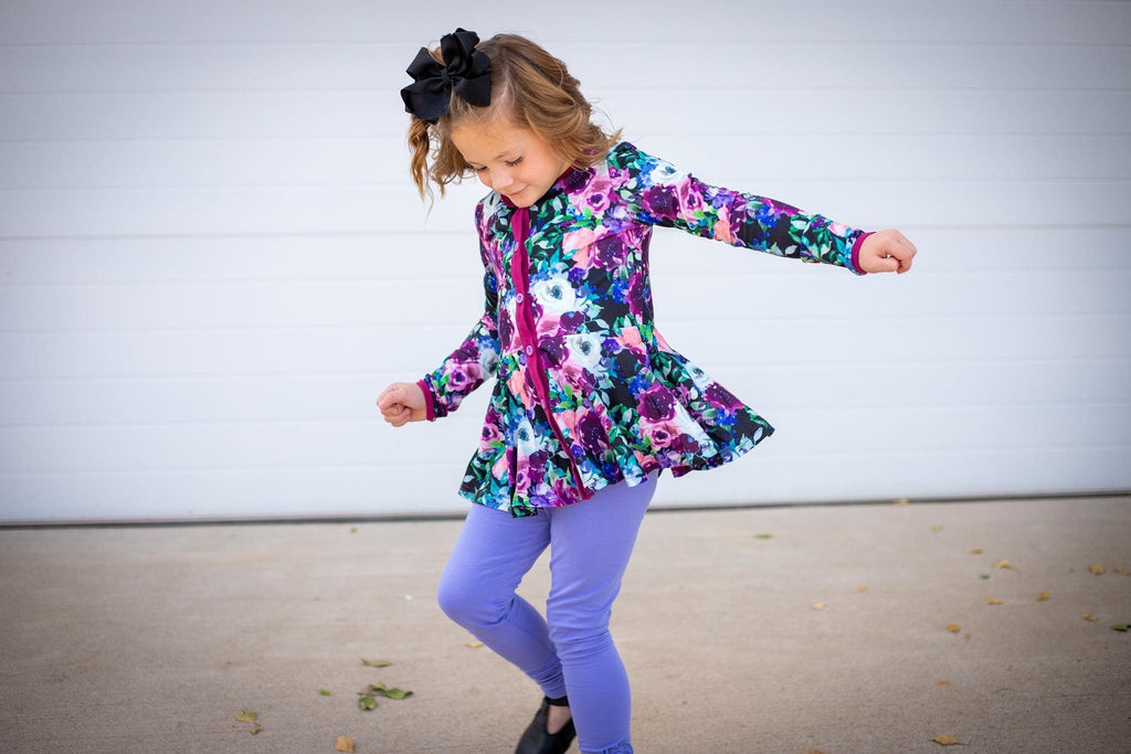 Midnight Florals Peplum Cardigan