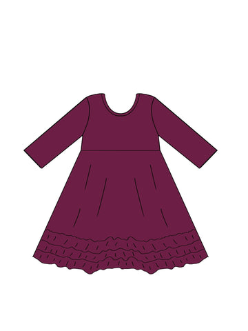 3/4 Sleeve Solid Ruffle Dress **IN PRODUCTION**