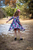 Midnight Florals 3/4 Ruched Sleeve Channy Dress