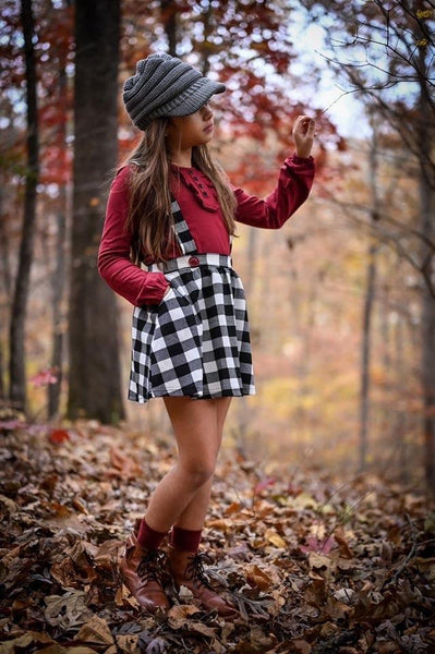 White Buffalo Plaid & Burgundy Suspender Skirt