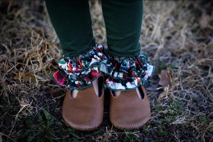 Winter Floral & Emerald Small Triple Ruffle Leggings