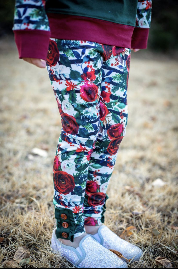 Winter Floral Ruffle Button Leggings