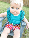 Teal Icing Ruffle Flutter Sleeve Tank Top