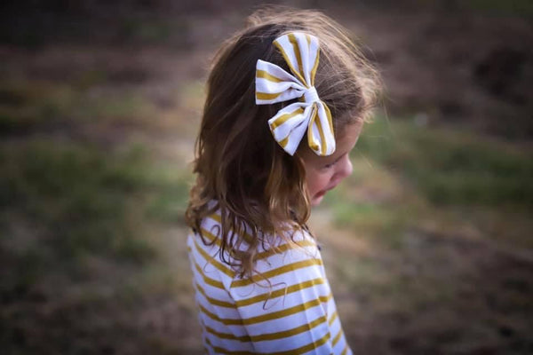 "Golden Stripe 4.5"" Fabric Bow"