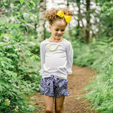 Navy Gingham Ruffle Shorties w/Belted Bow