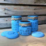 Rustic Blue Mason Jar Bathroom Set, Atlas E-Z Seal Bail Top Mason Jars with Glass Lids, Mason Jar Desk Set, Vintage Mason Jar Canister Set