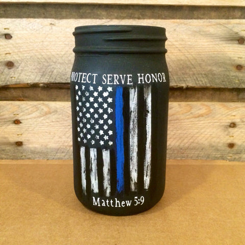 Police Officer Gift, Thin Blue Line Distressed Flag Jar, Custom Police Officer mason jar, Law Enforcement Protect Serve Honor, Matthew 5 9
