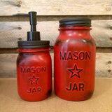 Vintage Red Mason jar canisters, Rustic Red Canister Set, Distressed Red Mason Jars, Red Kitchen Storage, Red and Black Mason Jars
