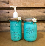 Mason Jar Desk Set, Mason Jar Bathroom Set, Hand Painted Turquoise Mason Jar Desk Set or  Vanity Set with vintage Hoosier Glass bud vase.