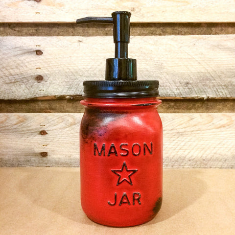 Mason Jar Soap Dispenser, Vintage Red Mason jar ,Rustic Red Soap Dispenser, Distressed Red Mason Jar, Vintage Mason Star Jar