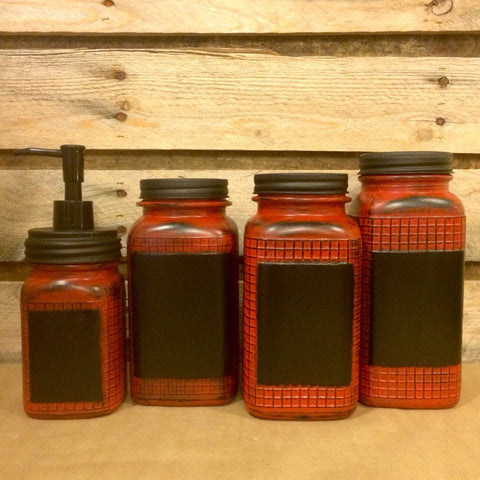Vintage Red Mason jar canister set, Red Waffle Grid Mason Jars, Red mason jar soap dispenser, Red and Black kitchen storage