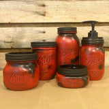 Red Mason Jar Bathroom Set, Rustic Red Mason jars, Mason Jar Desk Set, Mason Jar Office Decor, Red Mason Jar Soap Dispenser, Farmhouse Decor