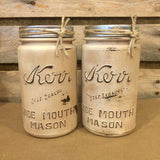Vintage Mason Jar Kitchen Canisters, Rustic Antiqued Ivory Mason Jars, Mason Jar Soap Dispenser, Vintage Kerr Mason Jar Kitchen Storage