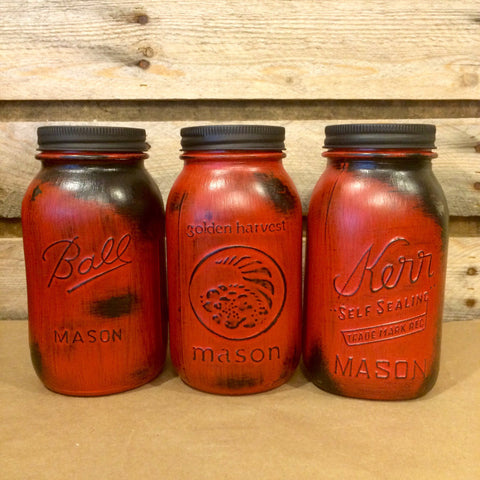 Rustic Red Mason jars, Red Vintage Jars, Mason Jar Centerpiece, Red Kitchen Canisters, Distressed Red and Black Mason Jars