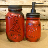 Vintage Red Mason jar canisters, Rustic Red Canister Set with Soap Dispenser, Distressed Red Mason Jars, Red Kitchen Storage, Red and Black