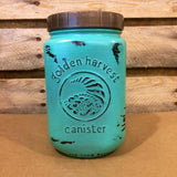 Mason Jar Kitchen Canister Set, Vintage Golden Harvest Turquoise Kichen Jars, Aqua Blue Kitchen Storage, Vintage Golden Harvest Canister Set