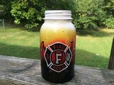 Hand Painted Firefighter Quart Size Mason Jar organizer, vase, home decor, maltese cross, firefighter emblem, firefighter mason jar storage