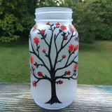 Hand painted tree vase, tree mason jar vase.  Frosted glass votive holder or vase.  Hand painted tree with red flowers