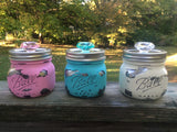 Pastel Mason jar canister set, hand painted squatty pint size Ball jar storage containers in pastel colors distressed with chrome interiors