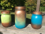 Mason jar canister ser, Hand Painted Copper Patina canister set. Copper decor. Copper Turquoise Patina vases Hand Painted mason jar storage.