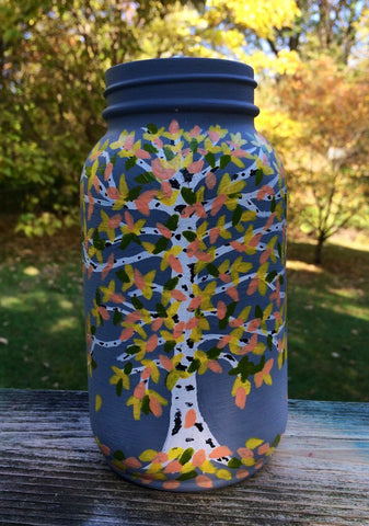 Hand painted birch tree vase, fall leaves birch tree canister, birch tree frosted glass votive holder, birch tree jar with fall leaves