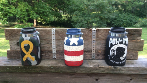 Patriotic wall decor, mason jar wall organizer with 3 vintage quart Ball mason jars. Made in USA, Vietnam Veteran, POW MIA, Yellow Ribbon