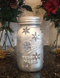 Mason Jar Light. Holiday Snowflake Luminary.  Vintage Mason Jar Snowflake LED light. Christmas Mason Jar, Snowflake Mason Jar