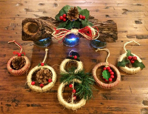 Rustic Holiday centerpiece and Ornaments. Christmas Mason Jar votive holder with Mason jar lid ornaments, Holiday mantle decor