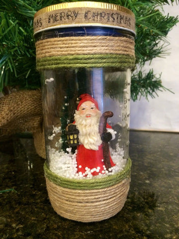 Santa Claus Mason Jar Luminary, Holiday Mason Jar,LED Light, Holiday snow Globe, 24oz mason jar light, Christmas Mason Jar