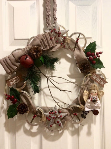 Rustic Mason Jar Lid Wreath, Mason Jar Wreath, Rustic Holiday wreath, Christmas Wreath, Rustic Christmas Wreath, canning ring wreath