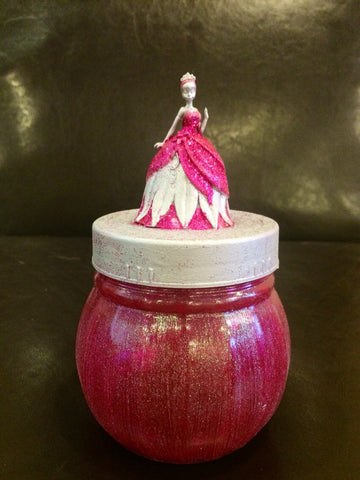 Princess Tiana inspired storage jar, Pink and Silver Princess Tiana keepsake jar, Princess Tiana canister, Princess Tiana gift