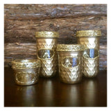 Gold Mason Jar set, Gold Desk Organizer, gold mason jar storage, wedding centerpiece, Golden Anniversary decor, gold votive holders