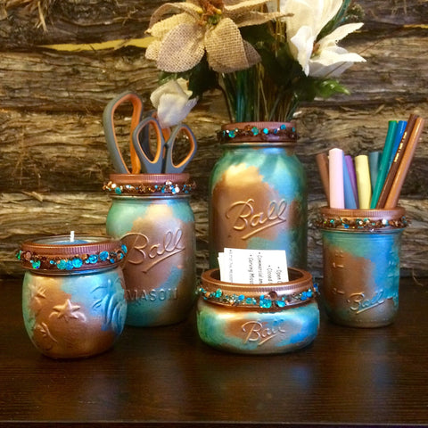 Mason Jar Desk Set, Copper Desk Set, Rustic Office Decor, Mason Jar Bathroom Set, Mason Jar Office Organizer, Mason Jar Bathroom Accessories