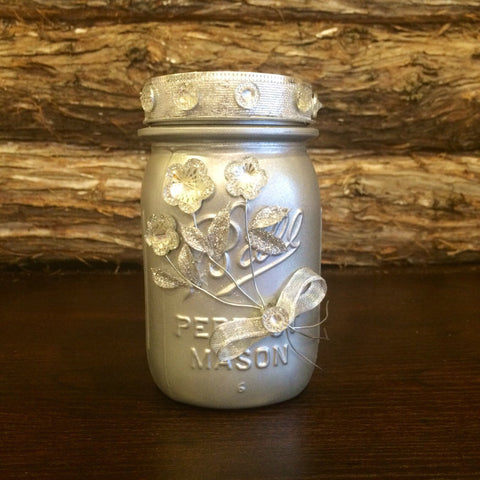 Vintage Wedding Mason Jar, Silver Wedding Anniversary, Silver Wedding Centerpiece, Silver Vintage Mason Jar, 25th Wedding Anniversary Decor