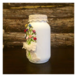 Rustic Ivory Mason Jar, Rustic Wedding Centerpiece, Country Wedding, Country Bridal Shower, Rustic Wedding Mason Jar with roses, Shabby Chic
