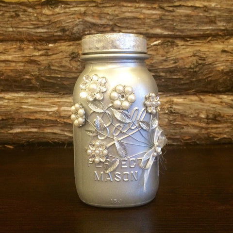 Silver Mason Jar, Wedding Mason Jar, Silver Wedding decor, Silver Wedding Centerpiece, Silver Anniversary Decor, 25th Anniversary gift