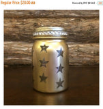 Gold Mason Jar luminary, Gold Wedding Centerpiece, Gold Lighted Star Jar, Gold Vintage Mason Jar, 50th Anniversary Decor, Gold Wedding Decor