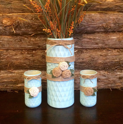 Spa Blue Mason Jar Vase, Hand Painted and Distressed Mason Jars Vases, One of a kind set of Quilted Mason Jar vases, Large Mason Jar vase