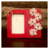 Distressed Red Mason Jar, Rustic Red Picture Frame, Red Jar Gift Set, Distressed Red mason Jar Vase, Rustic Red Mason Jar