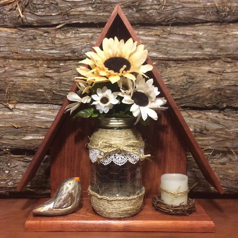 Mason Jar Wall Decor, Rustic Mason Jar Wall Display with Flowers, Bird House Wall Decor, Mason Jar Decor, Rustic Decor, rustic vase, twine