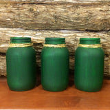 Rustic Green Mason jars, Green Mason Jars, Mason Jar Centerpiece, Mason Jar Decor, Rustic Green Canister, Painted mason jar, Farmhouse Decor