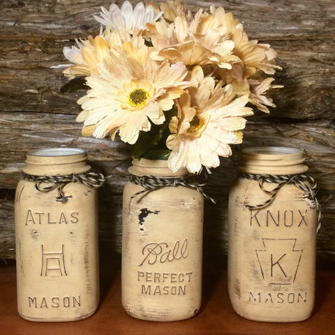 Rustic Beige Mason jars, Vintage Mason Jar Canisters, Rustic Mason Jar Centerpiece, Painted Mason Jars, Mason Jar Decor, Farmhouse decor